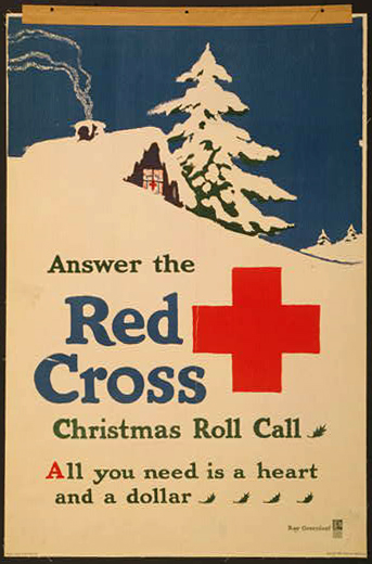 advertising, classic posters, free download, graphic design, retro prints, vintage, vintage posters, Answer the Red Cross Christmas Roll Call, All You Need is a Heart and a Dollar - Vintage Red Cross Poster