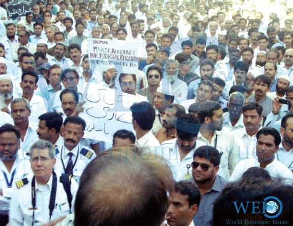 PIA union air league began protesting against no increment in salaries and employees have left the job across the country.