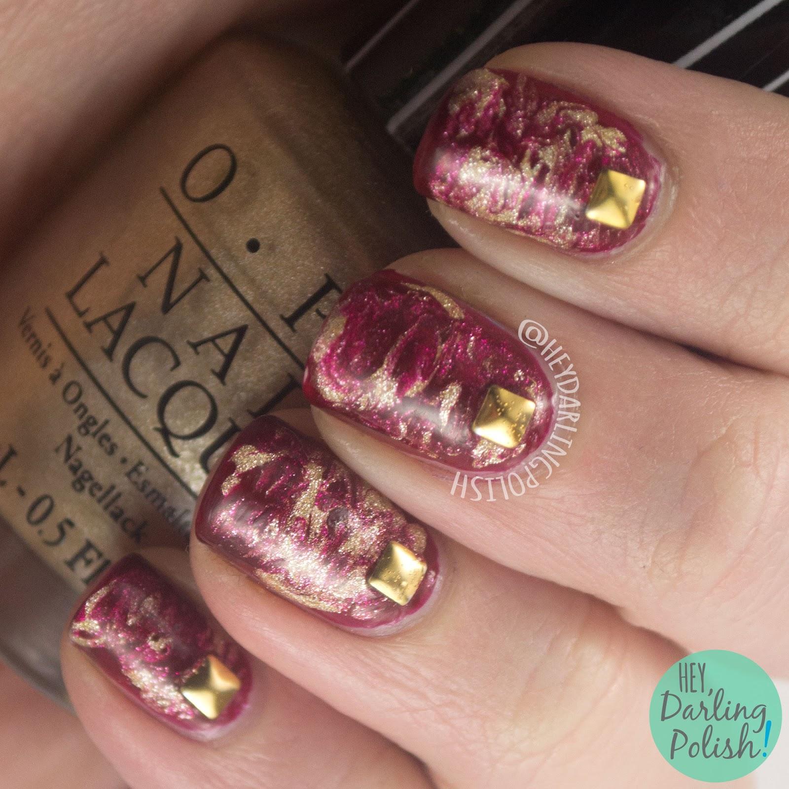 nails, nail art, nail polish, red, gold, needle drag, studs, hey darling polish, 52 week challenge