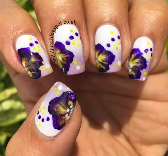 One Stroke Purple Flowers Nail Art