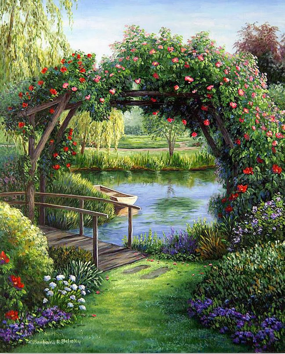 Pintura moderna y fotograf a art stica paisaje con for Cuadros para el jardin