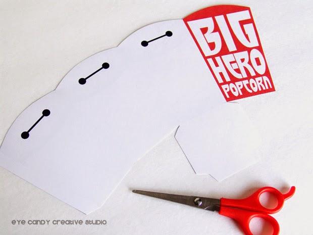 Big Hero popcorn, free Big Hero 6 popcorn boxes, how to assemble popcorn box
