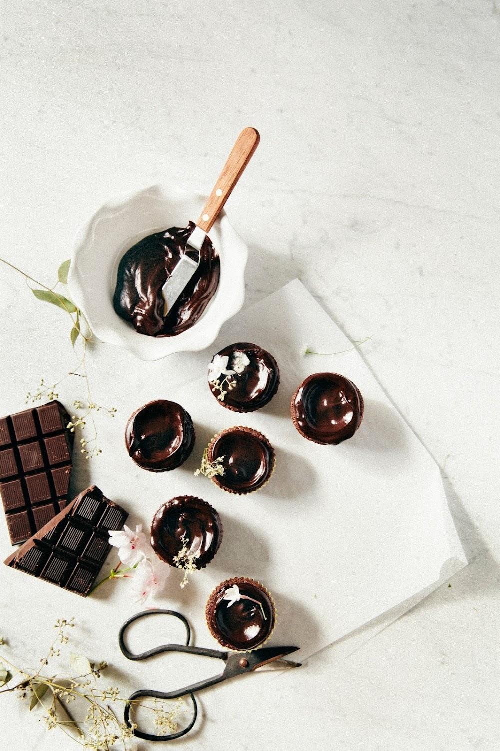 double chocolate crème fraîche cupcakes