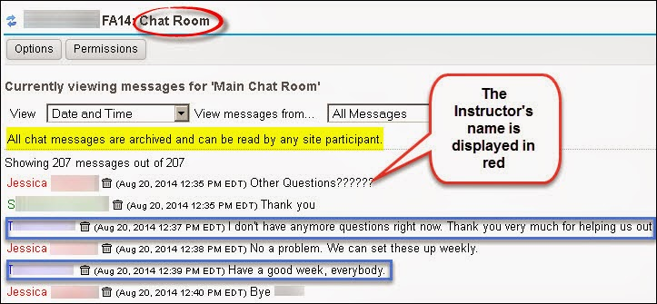 Sample Chat Instructor and student questions and answers
