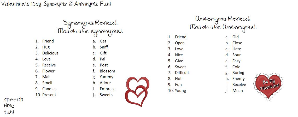 Valentines Day Synonyms Antonyms Fun