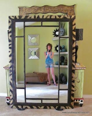 zebra carved 6 ft leaner mirror frame using dremel