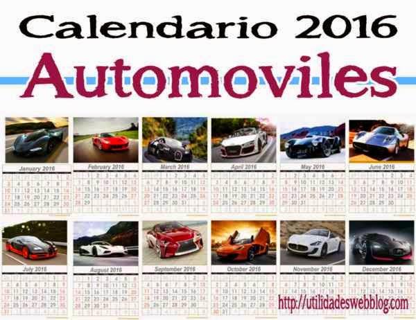 calendario de autos mes por mes para el 2016 para imprimir
