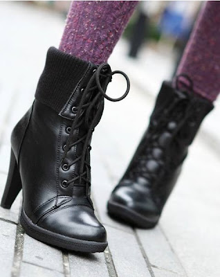 Faux Leather Lace Up Front Knit Cuff Ankle Boots