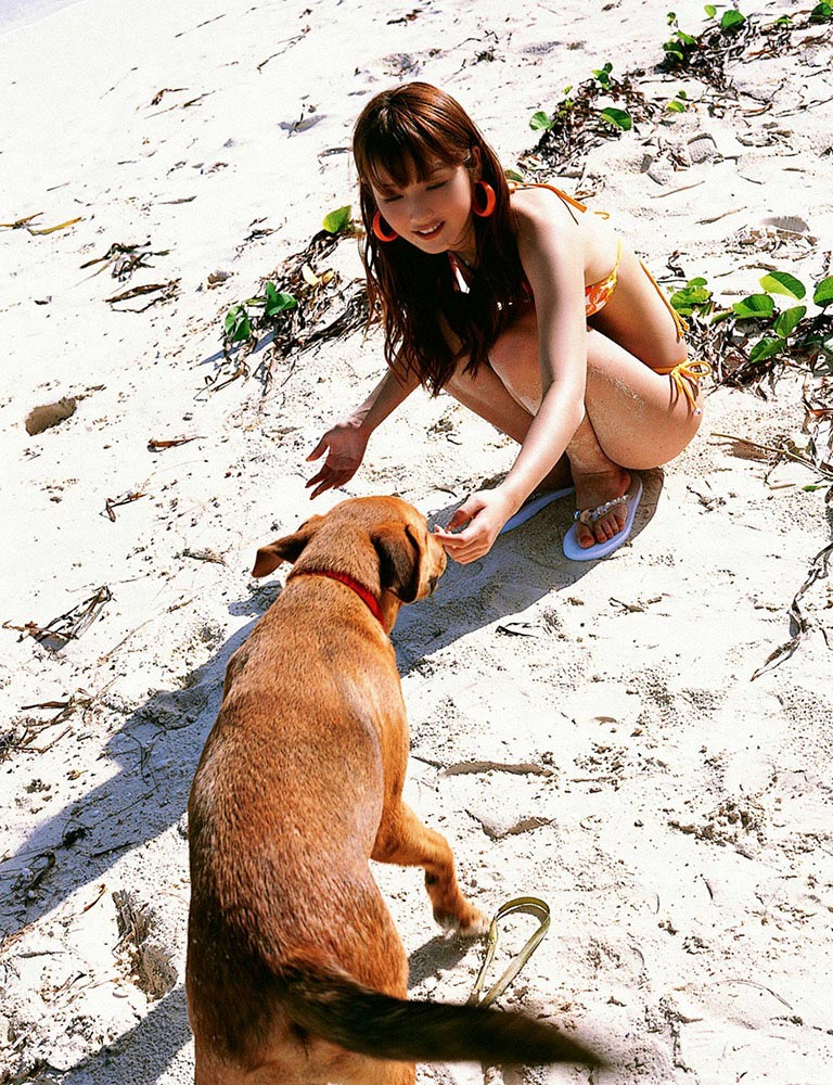 nozomi sasaki with a dog in the beach