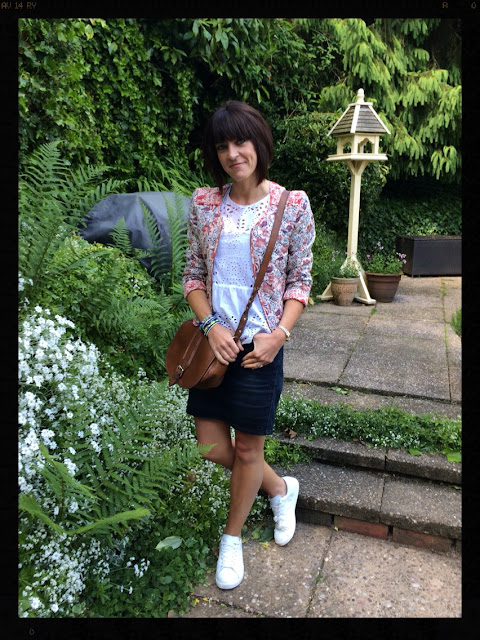 My Midlife Fashion, Quilted Jacket, Denim Skirt, Trainers, Saddle Bag, Embroidery Angliase, Zara, Mango, Clarks