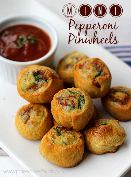 Mini Pepperoni Pinwheels explode with flavor in a tiny package! Hormel Pepperoni and a few ingredients are all you need to make up batches of these little gems!