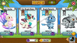 imagen del gran dragon blanco y dragon diamnate en dragon city ios