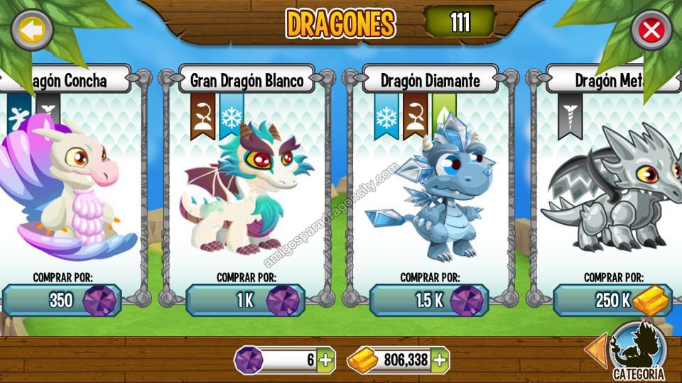 imagen del gran dragon blanco y dragon diamnate en dragon city ios
