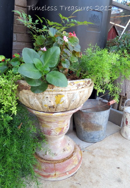 Timeless Treasures: Stacked Clay Pots And Saucer Pedestal Planter And Rain  Water