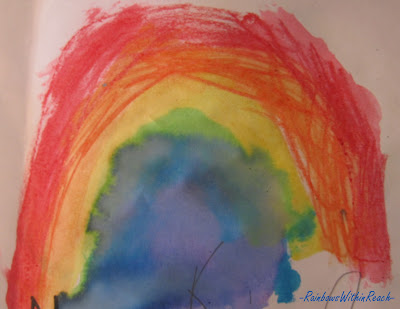 Rainbow child's painting, bright colors, water colors