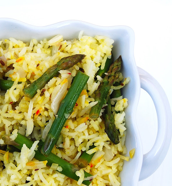 Vegan and gluten-free recipe for Asparagus Biryani