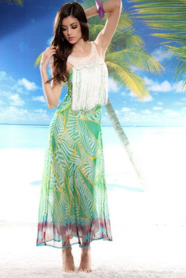 GREEN MULTI CHIFFON PRINTED CROCHET FRINGE BEADED DRESS