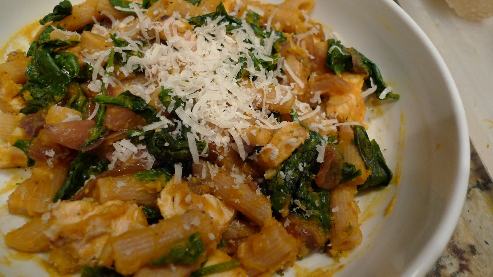 ... Tastes: Whole wheat penne with pumpkin, chestnuts, chicken and spinach