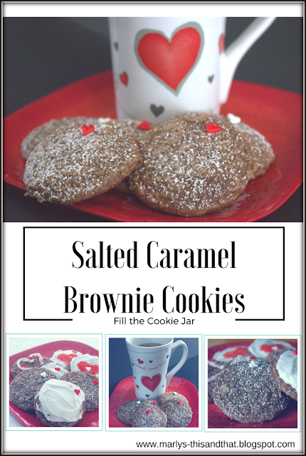 Fill the Cookie Jar with Salted Caramel Brownie Cookies - Slightly crunchy on the outside and soft and gooey center that melts in your mouth.