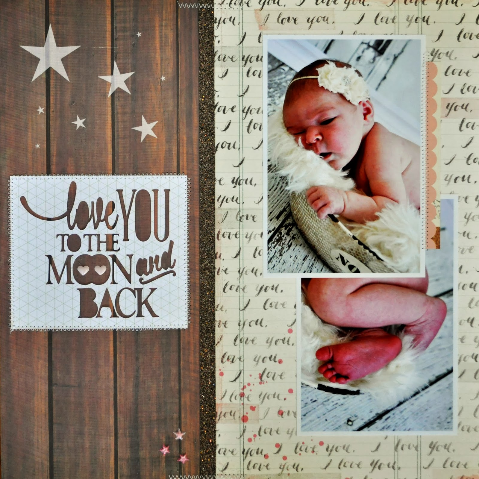 love you to the moon and back scrapbook page 12 x12 inspiration layout silouhette cut file title phrase baby photos brown wood panel i love you cream ivory pink glitter ribbon