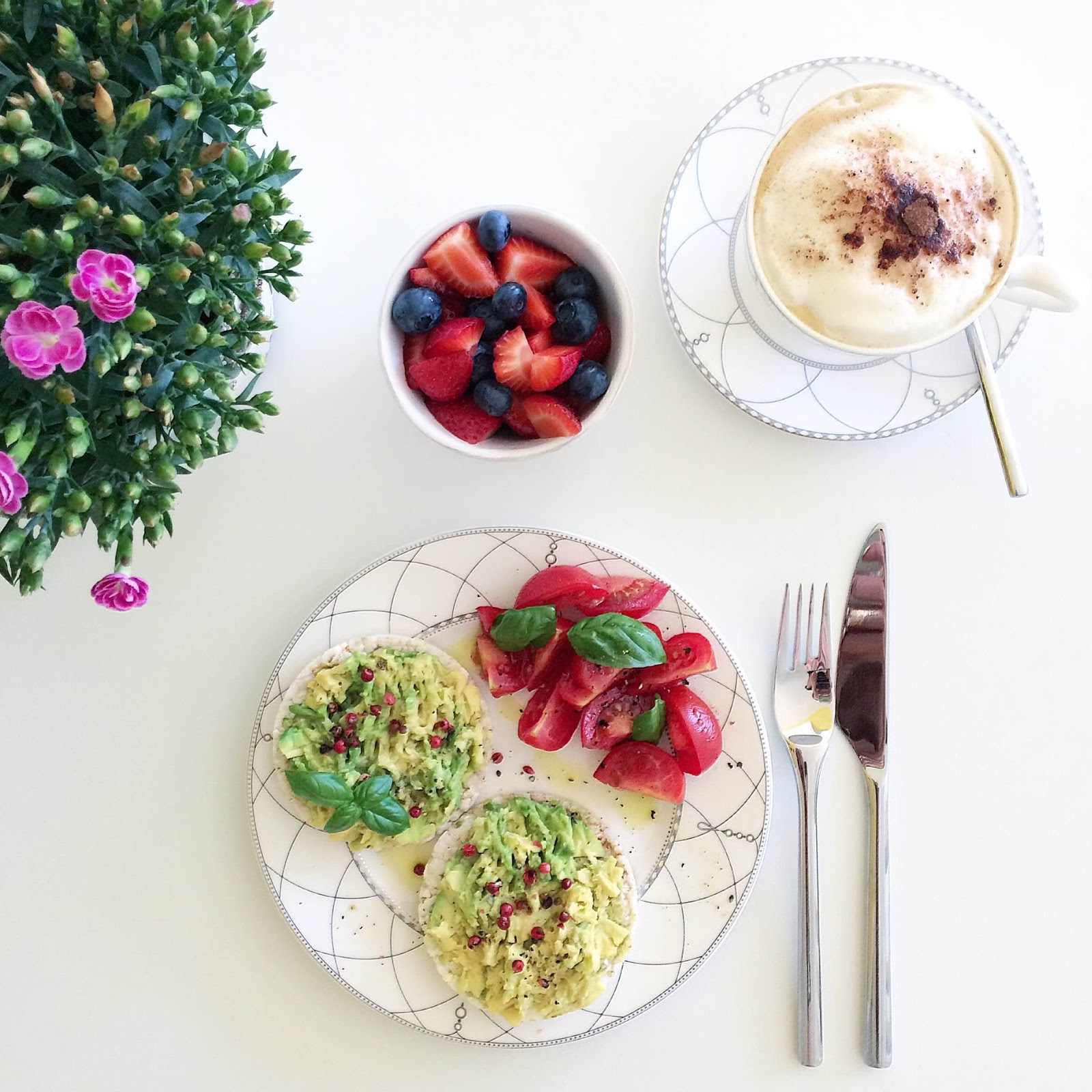 kristjaana mere healthy breakfast avocado rice bread berries cappuccino coffee