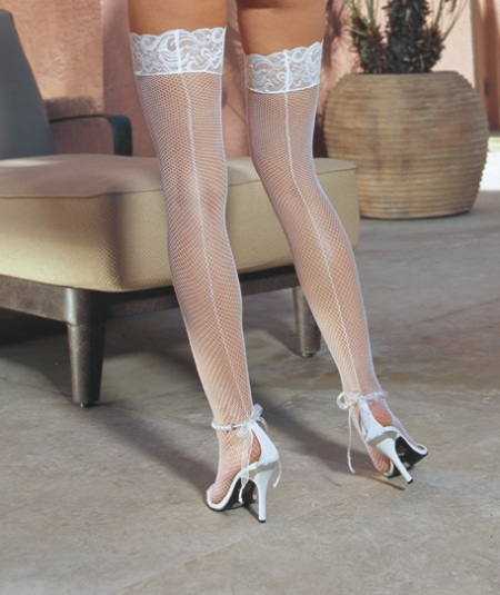 Bridal Lace Top Fishnet Hold Ups