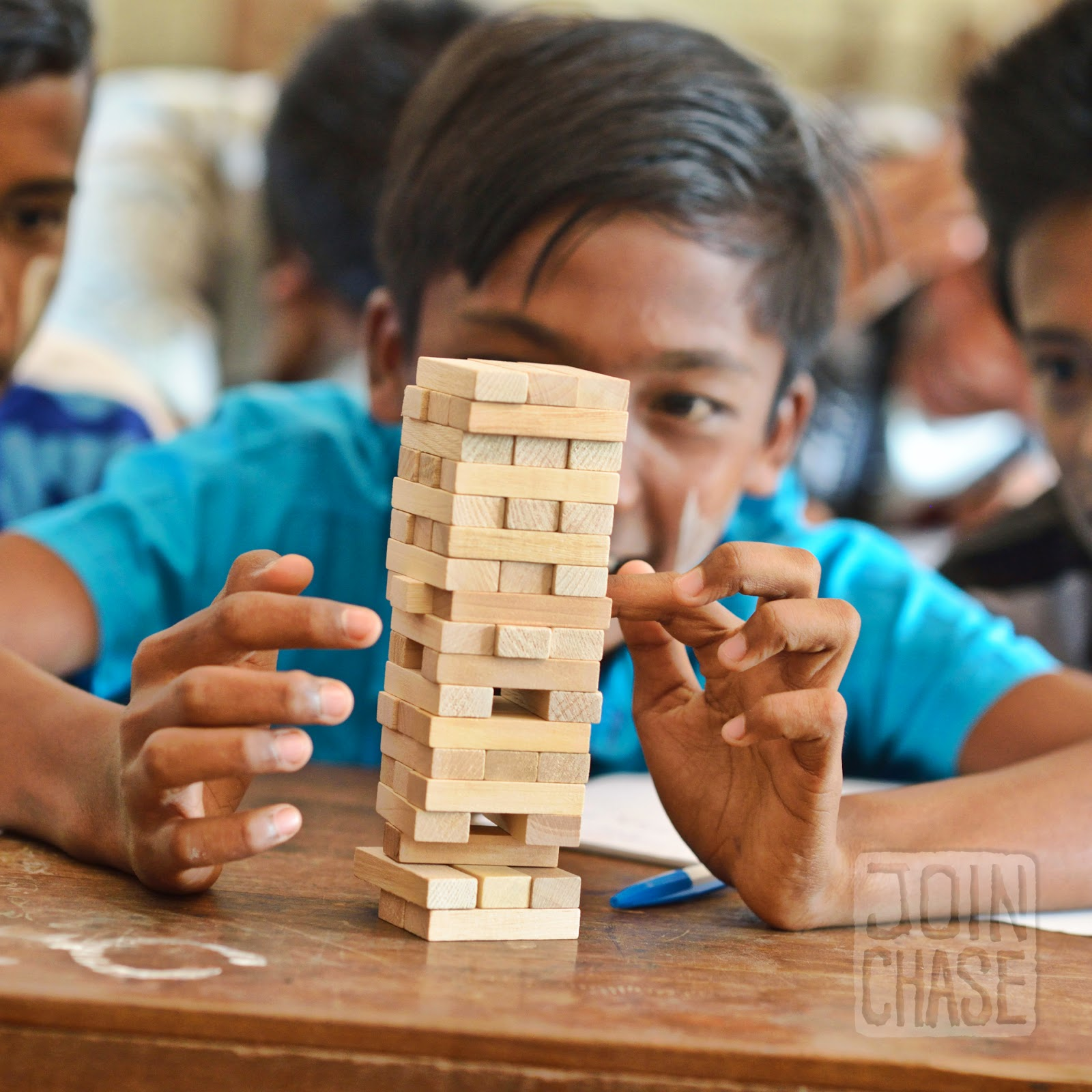 A student in Myanmar playing Stack 'Em during an English lesson.