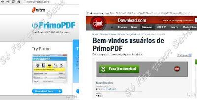 Telas para baixar gratuitamente o software PrimoPDF