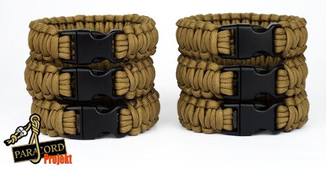 Bransoletki w militarnym kolorze COYOTE z klamrą polimerową