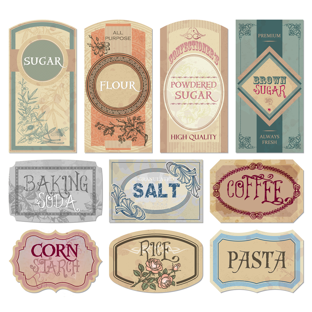 FREE Printable vintage labels for jars and canisters to organize your ...