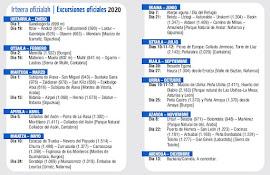 Calendario de excursiones