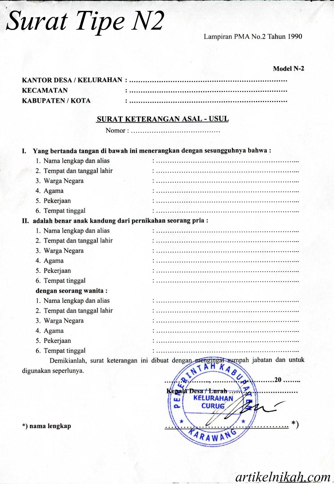 Surat Berkas Yang Dibutuhkan Dalam Persiapan Nikah*