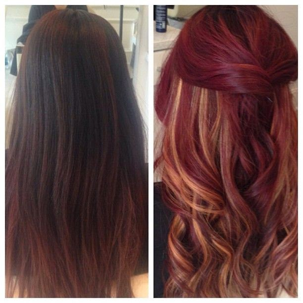 Before & After Velvet Red with peek-a-boo highlights