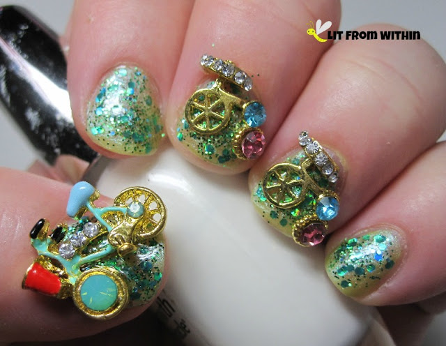 NCC - Bicycle Race charm nail art