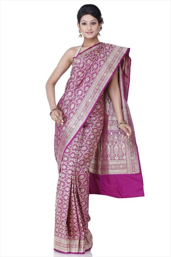 Imperial Purple Kattan Silk Banarasi Saree