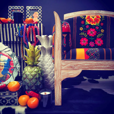 Mexican fabric, altar, bone inlay, luxe bohemian, homewares, pineapples, Frida Kahlo, Day of the Dead