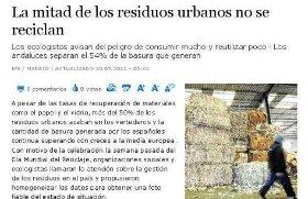 LA MITAD DE LOS RESIDUOS URBANOS NO SE RECICLAN.