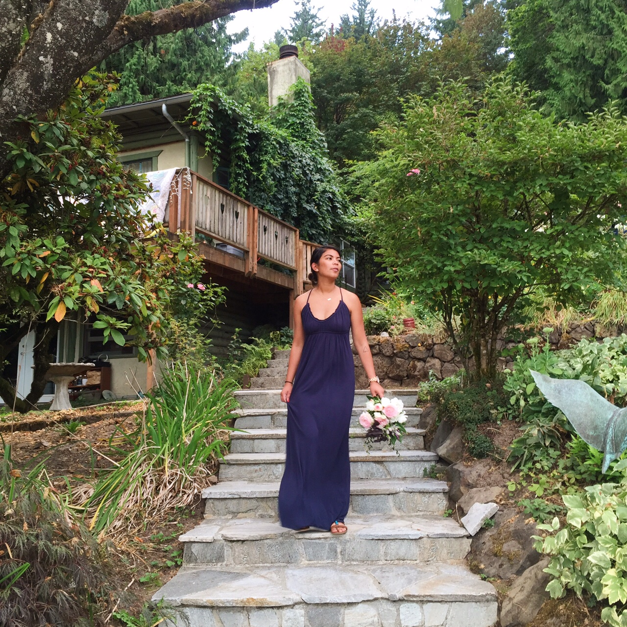navy blue maxi dress, thrift finds, value village, the ptown girls, affordable  fashion, thirty bucks, portland blogger, oregon blogger, fblogger, fashion blogger, ootd, fashion diaries, blog post, outfit post