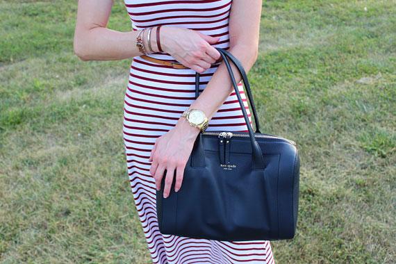 navy kate spade purse, striped maxi, bracelets, tan belt