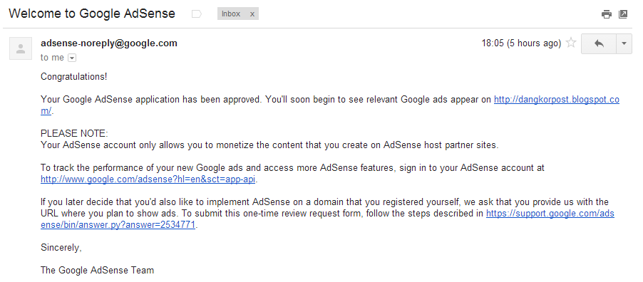 Google Adsense Approve (successfully)