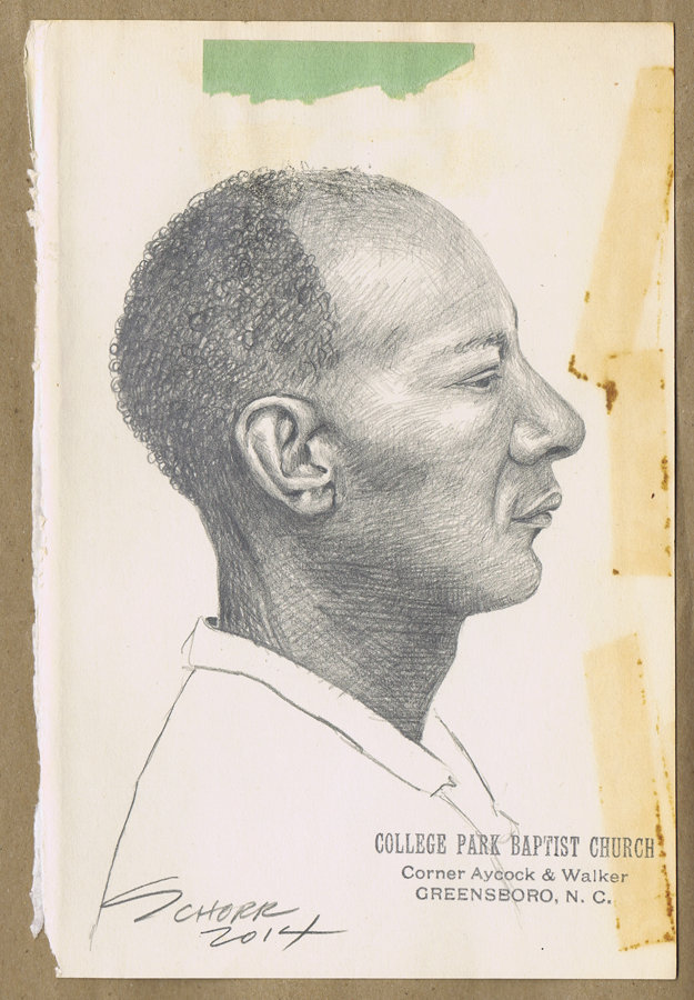 Library People #134, a graphite pencil portrait drawwing by Natalie Schorr