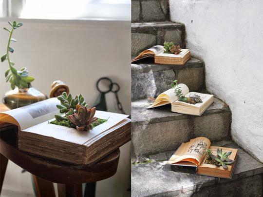 pomysł na ksiązki jak zrobić donice z książek