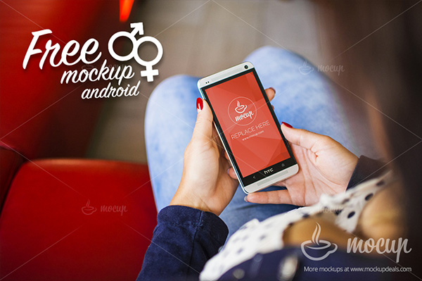 Smartphone & Tablet Mockup PSD Terbaru Gratis - Android HTC PSD Mockup Lady
