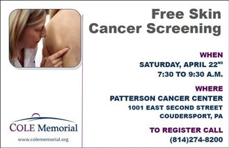 4-22 Free Skin Cancer Screening