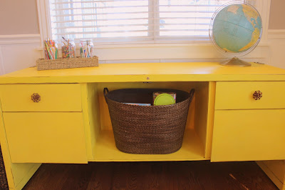 Homemade chalk paint - yellow farmhouse industrial desk