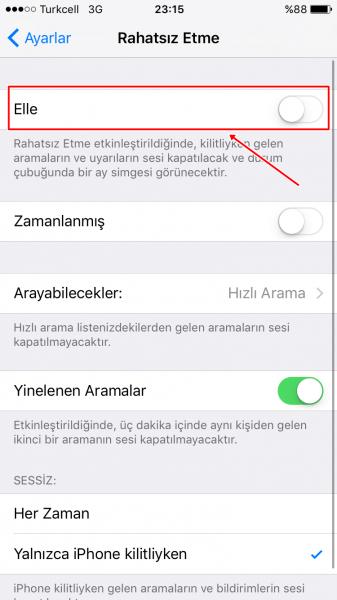 iphone2 rahatsiz etme modu