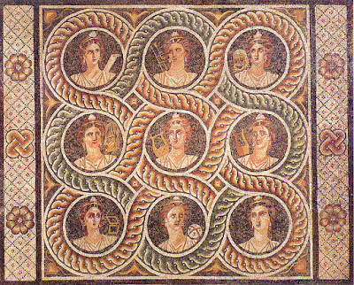 Roman muses mosaic from Kos, Island of Rhodes, Greece.