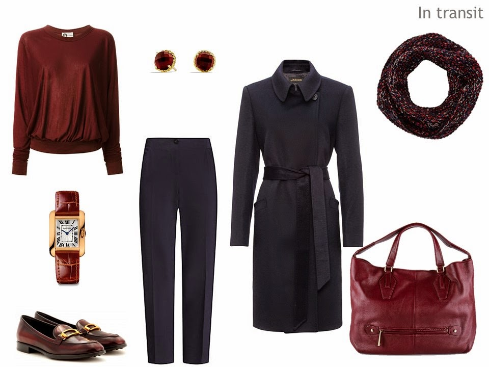 navy and burgundy travel outfit