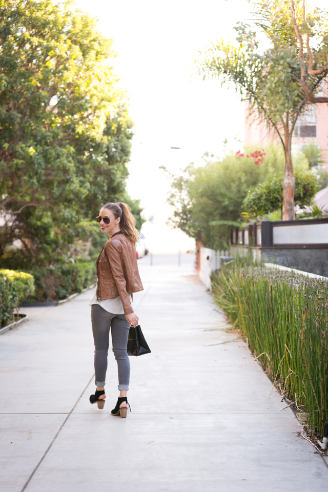 easy fall outfit: brown leather jacket, gray skinny jeans, printed tshirt and black booties, via M Loves M {click through for more photos and product info}