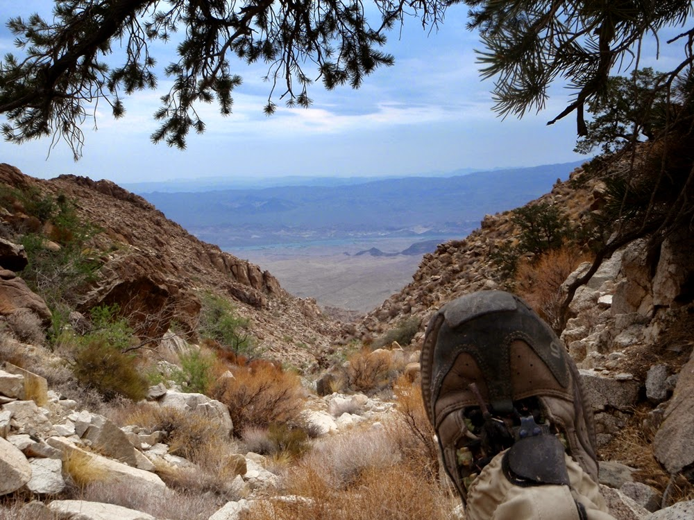 Rest break with Lake Mohave far below